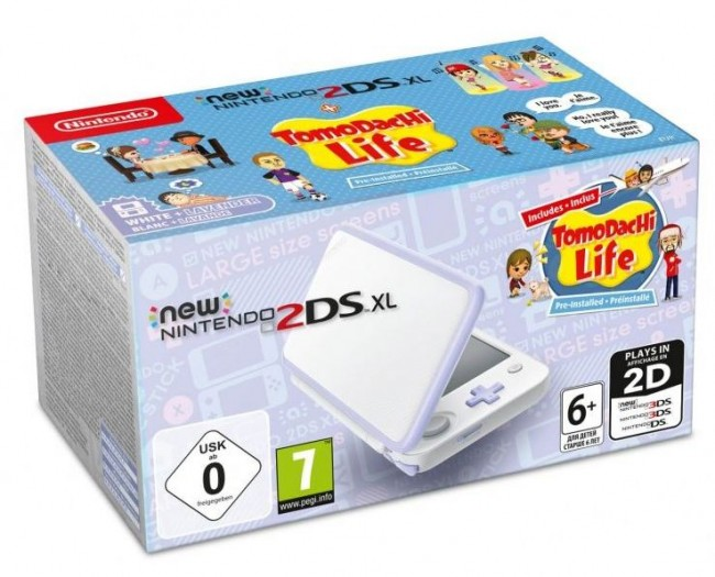 New Nintendo 2DS XL White & Levander + Tomodachi